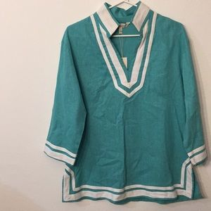Tops - Sherry Taylor aqua and white top